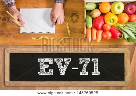 EV-71 fresh vegetables and on a wooden table stock photo