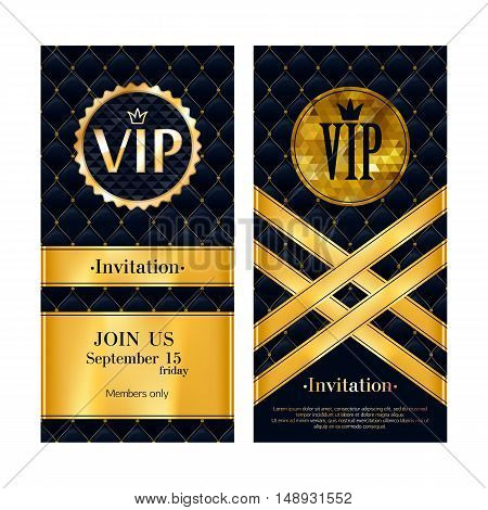 VIP party premium invitation card poster flyer. Black and golden design template. Quilted pattern decorative background with gold ribbon and round badge. stock photo