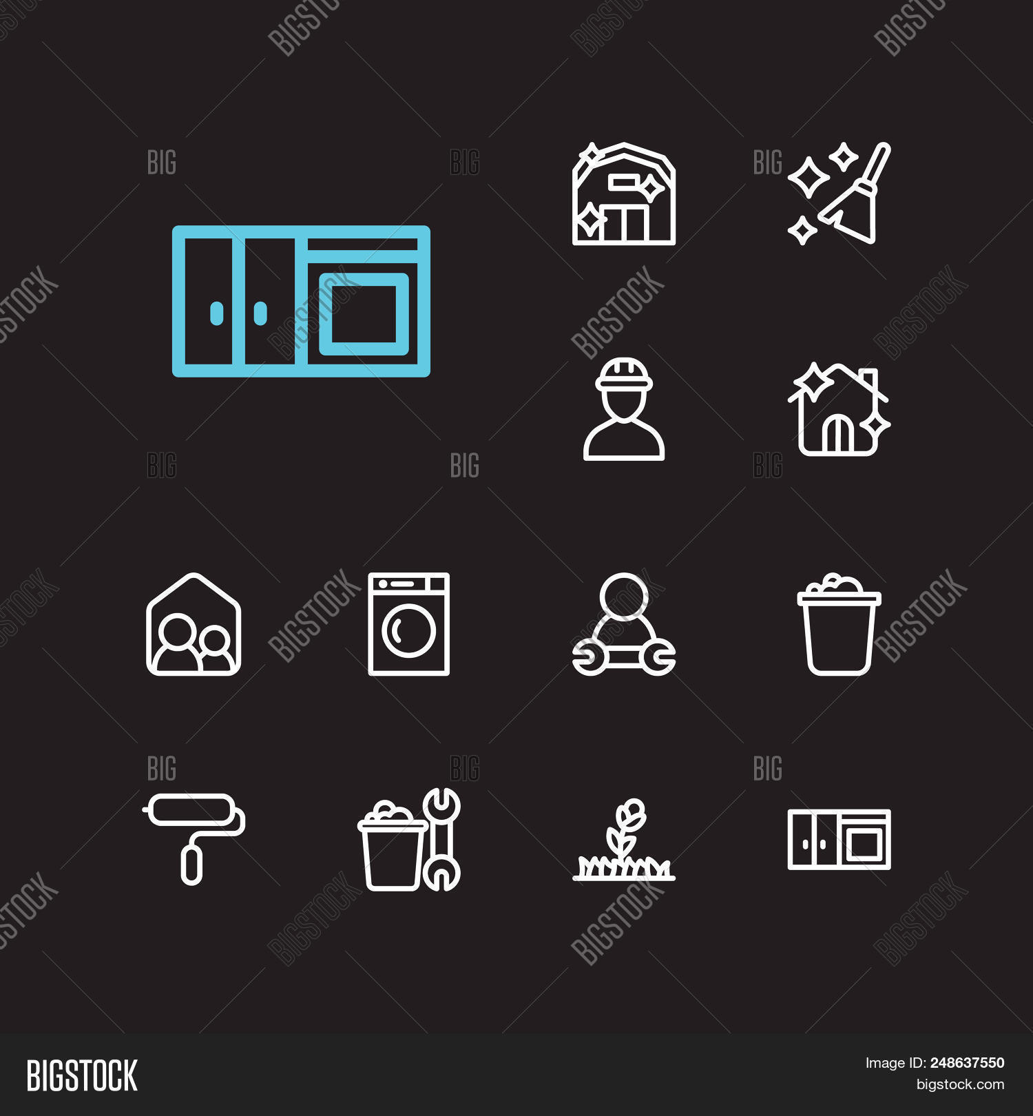 Housekeeping Icons Set. Housekeeping Tool And Housekeeping Icons With Cleaning, Housekeeper And Plan