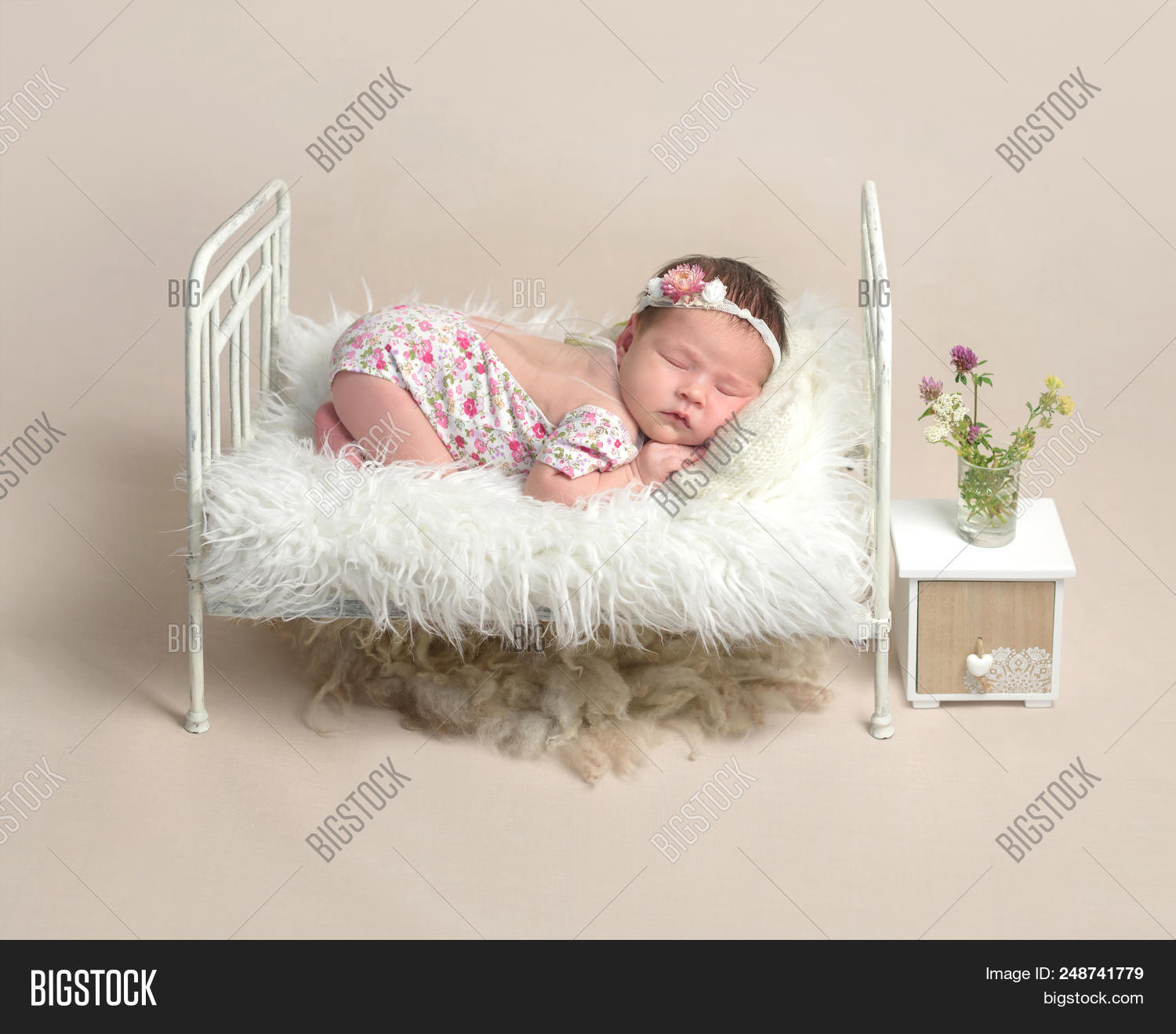 Cute Sleeping Newborn Baby Girl In The Little Bed 248741779 Image Stock Photo