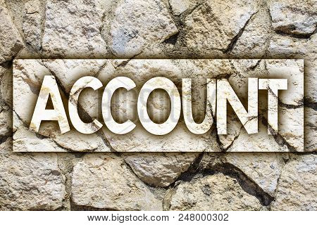 Writing note showing  Account. Business photo showcasing Description Narrative Exposition History Record Log Data Financial Ideas message stone stones rock rocks backgrounds wild natural pebbles stock photo