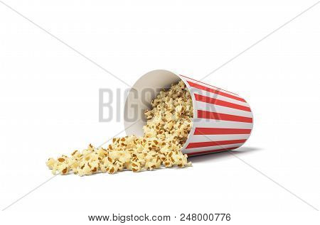 3d rendering of a round striped popcorn bucket lying on its side with popcorn spilling out of it. Movie snack. Popcorn time. Watch and eat. stock photo