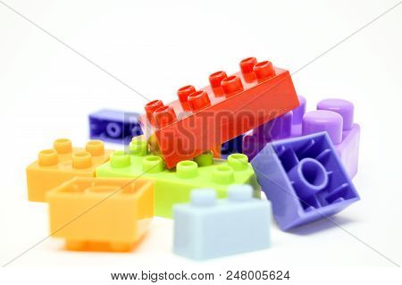 Many color box and shape lego so interesting for Child. stock photo