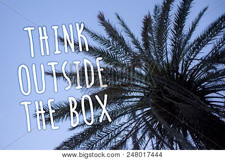 Handwriting text Think Outside The Box. Concept meaning Thinking of new and creative solution leads to success Tall palm tree blue sky ideas messages thoughts feelings reflections stock photo