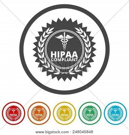 HIPAA - Health Insurance Portability and Accountability Act icon, 6 Colors Included stock photo