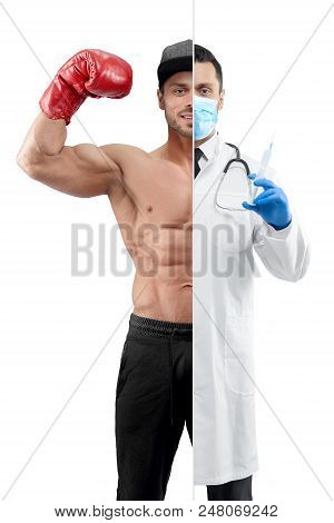 Comparison of doctor and boxer's profession outlook. Boxer wearing red boxer gloves ,sport trousers, a cap. Doctor wearing white medical gown, blue gloves and mask, having syringe. stock photo