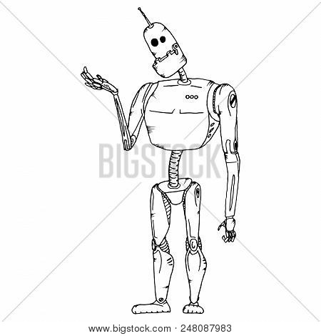Cute robot vector character. Robot technology machine future science toy. Cyborg futuristic design robotic toy robot. Cartoon robot. stock photo