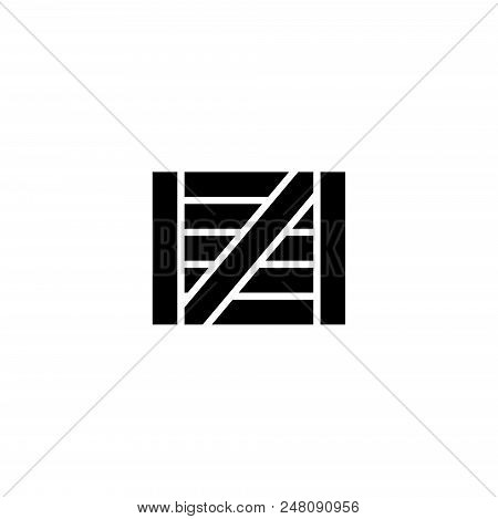 Wooden Box. Flat Vector Icon illustration. Simple black symbol on white background. Wooden Box sign design template for web and mobile UI element stock photo