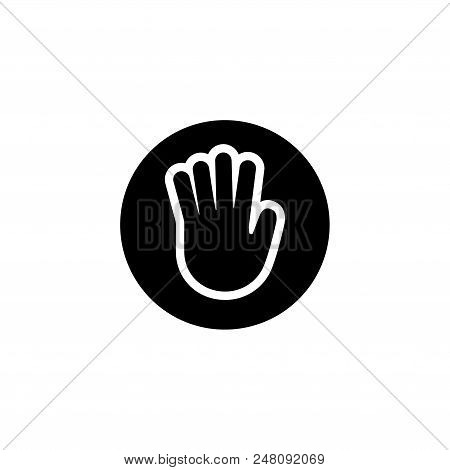 Stop Hand. Flat Vector Icon illustration. Simple black symbol on white background. Stop Hand sign design template for web and mobile UI element stock photo
