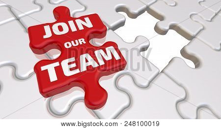 Join our team. The inscription on the missing element of the puzzle. Folded white puzzles elements and one red with text: JOIN OUR TEAM. 3D Illustration stock photo