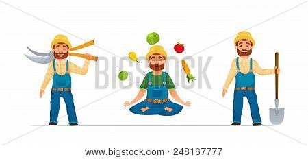 Smiling happy Farmer or gardener characters set.farmer with tools. yoga farmer with vegetables. cartoon style. vector illustration in white background stock photo