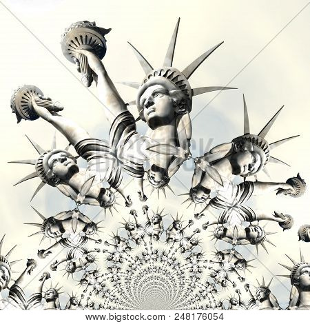 Digital Rendering of the Statue of Liberty stock photo