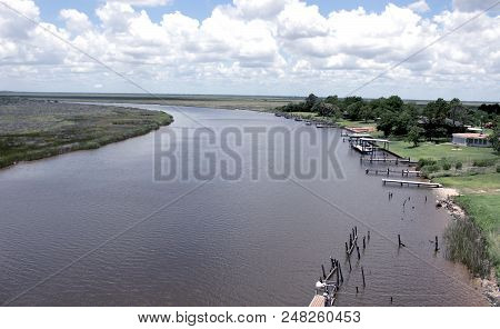River showing both sides of the banks stock photo