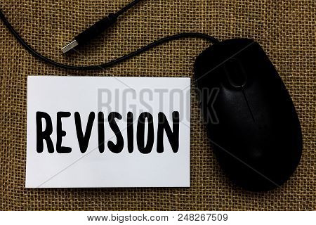 Word writing text Revision. Business concept for Rechecking Before Proceeding Self Improvement Preparation USB cable mouse art paper mat thoughts ideas shadow small pitch art paper stock photo