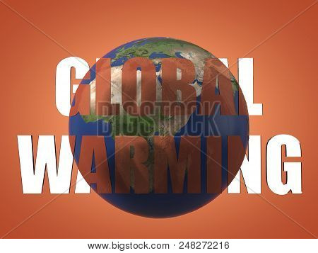 global warming result seen beyond text before and after theme for global warming. 3d illustration. suitable for climate changes, chatstrophes and global warming themes. stock photo