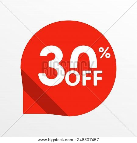 Sale tag icon. 30 percent off. Price off and discount tag design element. Vector illustration. stock photo