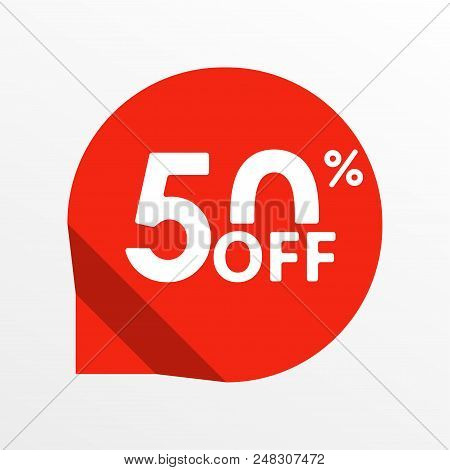Sale tag icon. 50 percent off. Price off and discount tag design element. Vector illustration. stock photo