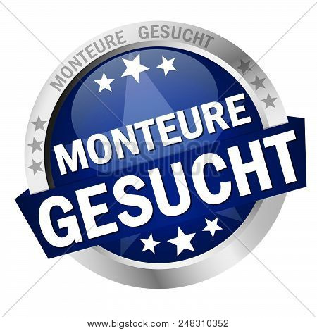 round colored button with banner and text fitters wanted (in german) stock photo