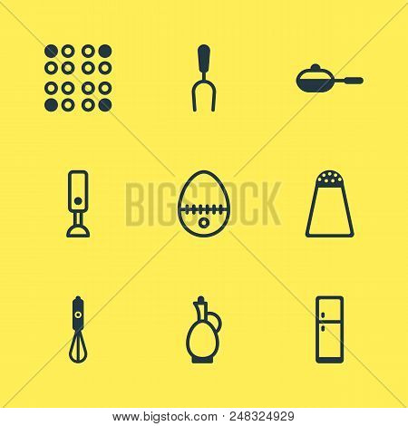 illustration of 9 cooking icons. Editable set of salt cellar, egg split, blender and other icon elements. stock photo