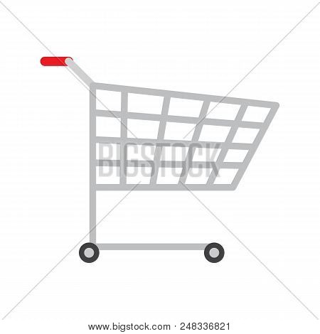Colorful icon of product trolley, vector image with bright backdrop, two black wheel, red handle lot of rectangular holes on trolley case, metal bogie stock photo