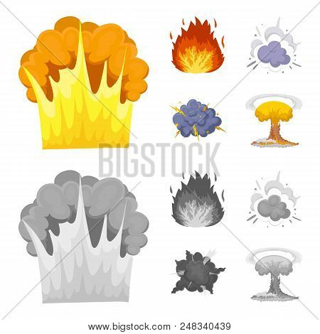Flame, sparks, hydrogen fragments, atomic or gas explosion. Explosions set collection icons in cartoon, monochrome style vector symbol stock illustration . stock photo