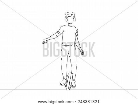 Continuous single drawn one art line electric self-balancing vehicle unicycles. Ecologically clean high-tech alternative transport. A self-balancing scooter, hoverboard, self-balancing board.Male character manages transport. stock photo
