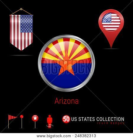 Round Silver Badge with Arizona US State Flag. Glossy Button Flag of Arizona. Round Icon of Arizona with Metal Frame. Pennant Flag of USA. Map Pointer - USA. Map Navigation Elements. Vector Art. stock photo