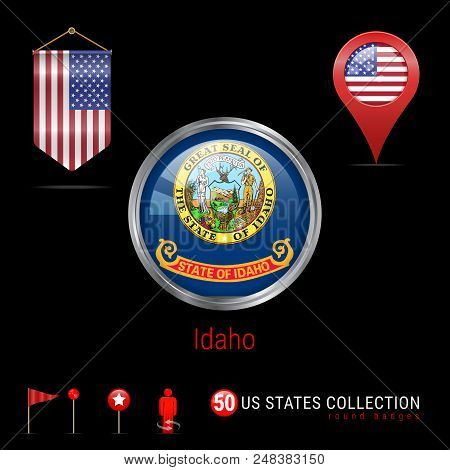 Round Silver Badge with Idaho US State Flag. Glossy Button Flag of Idaho. Round Icon of Idaho with Metal Frame. Pennant Flag of USA. Map Pointer - USA. Map Navigation Elements. Vector Art. stock photo