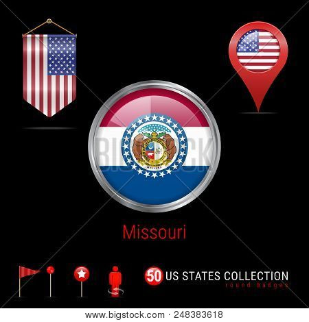 Round Silver Badge with Missouri US State Flag. Glossy Button Flag of Missouri. Round Icon of Missouri with Metal Frame. Pennant Flag of USA. Map Pointer - USA. Map Navigation Elements. Vector Art. stock photo