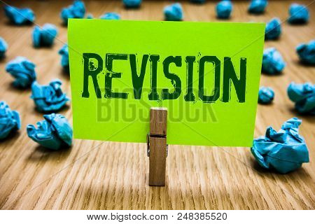Word writing text Revision. Business concept for Rechecking Before Proceeding Self Improvement Preparation Paper cyan object thoughts crumpled papers ideas mistakes several tries stock photo