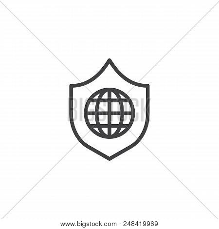 Globe shield outline icon. linear style sign for mobile concept and web design. World protection simple line vector icon. Symbol, logo illustration. Pixel perfect vector graphics stock photo