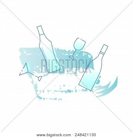 Wine and vertmouth glasses and bottles set with decorations. Line icons. Vector illustration. stock photo