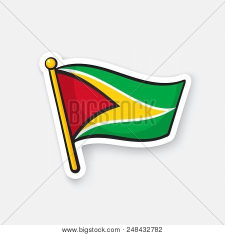 Vector illustration. National flag of Guyana on flagstaff. Location symbol for travelers. Sticker with contour. Decoration for patches, prints for clothes, badges. Isolated on white background stock photo
