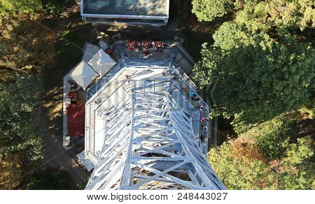 small steel Eiffel tower seen from high to low in Prague in Czech Republic stock photo
