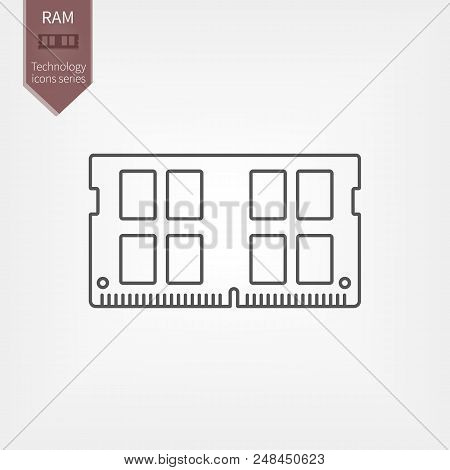 DDR4 RAM line Icon. Laptop memory board in flat design stock photo