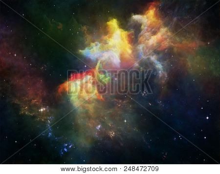 Deep Space series. Arrangement of space nebula, dust clouds and stars on the subject of Universe, Nature, science and imagination stock photo