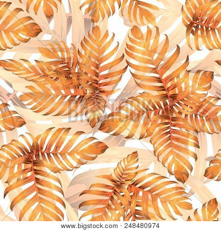 Palm Monstera Seamless Pattern. Orange White Tropical Summer Background. Beach Jungle Leaves for Swimwear Design. Lei Rapport. Retro Hawaiian Print. Tropic Textile Texture.  Botanic tiling. stock photo