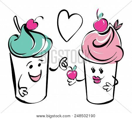 Girl and boy ice cream character and cherry, heart. The boy gives the cherry to the girl.. Black white pink hand drawing for kids, adult, caffee. stock photo