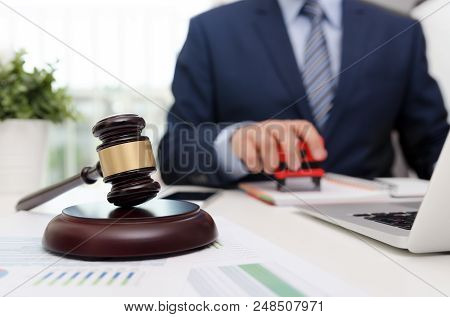 Justice symbol wooden gavel on table. Attorney working in office. Law attorney court judge justice legal legislation concept stock photo