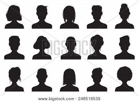 Profile Icons Silhouettes. Anonymous People Face Silhouette, Woman And Man Head Avatar Profile Icon