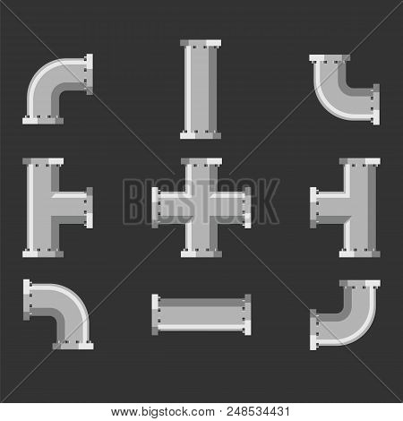Pipes and tubes different types for water, gas and oil vector art. Set tube for plumbing and piping work. Details and connectors industrial pipes and tube vector illustration stock photo