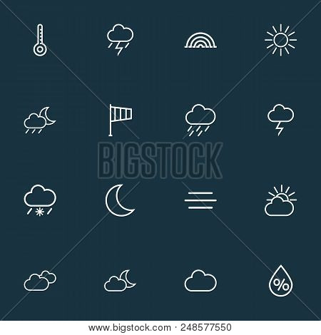 Air icons line style set with moonshine, thermometer, arc and other windsock elements. Isolated  illustration air icons. stock photo