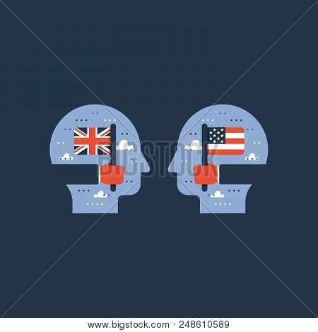 Learn English, american and British flags, education program, international student exchange, linguistic, vector icon, flat illustration stock photo
