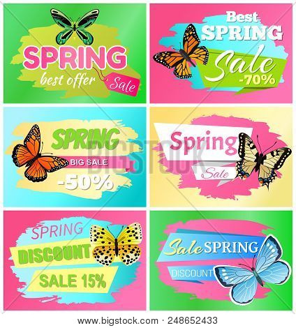 Best spring big sale banners with headlines in ribbons, butterflies types, spring sale and discount vector illustration isolated on green background stock photo