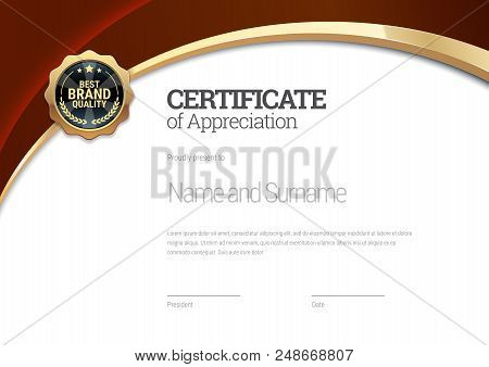 Certificate template. Diploma of modern design or gift certificate. Vector illustration. stock photo