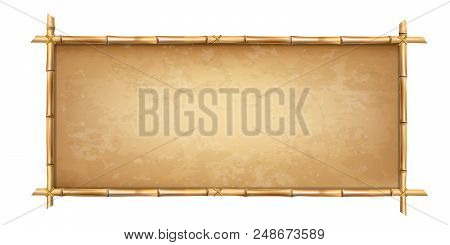 Wooden frame made of brown bamboo stems with higly detailed vintage paper blank or canvas. Worn parchment template, old grungy poster with space for text. Vector clip art isolated on white background. stock photo