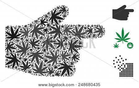 Index finger collage of hemp leaves in various sizes and color hues. Vector flat grass leaves are organized into index finger collage. Addiction vector illustration. stock photo