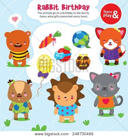Logic game for kid. Guess what present each animal give to rabbit on birthday. Development of logical thinking and connection between objects. Vector isolated illustration. Hand draw. stock photo