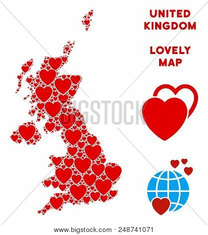 Lovely United Kingdom map mosaic of red hearts. We like United Kingdom map template. Abstract vector geographic plan is designed with red lovely items. stock photo