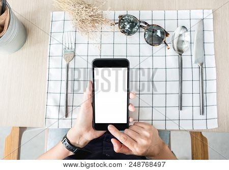 Woman Use Mobile Phone Apps At Restaurant Table.mobile Payment.digital Leisure Lifestyle.mock Up Tem
